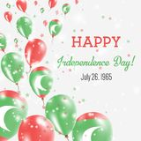 Maldives Independence Day Greeting Card. Flying Balloons in Maldives National Colors. Happy Independence Day Maldives Vector Illustration Stock Images