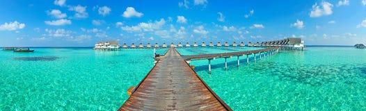 Maldives-Insel Panorama Lizenzfreies Stockfoto