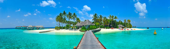 Maldives island panorama. With sun shining