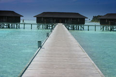 Maldives islands. Sceneries from the maldivian islands, wooden construction on the water Royalty Free Stock Photography