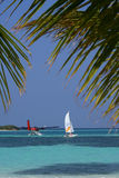 Maldives islands. In the outdoor  people on the beach , exercising with sails or sailing Stock Photography