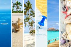 Maldives islands picture collage. Narrow strips of images from Maldives island forming collage with white separating lines royalty free stock photos