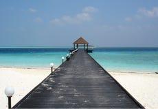 Maldives Jetty. Jetty over the Indian Ocean, Komandoo Island, The Maldives royalty free stock photography