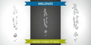 Maldives kolekcja wektorowego projekta map, szarej, czarnej i srebnej kropka konturu mozaiki 3d mapa nowożytna, Zdjęcie Royalty Free