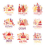 Maldives, Malaysia, Indonesia, Vietnam, China, Israel, India, Nepal, Filipinos set of colorful promo signs. Summer. Travel hand drawn vector Illustrations for Stock Images