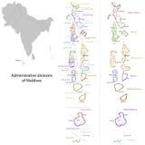 Maldives map. Administrative division of the Republic of the Maldives Stock Photos