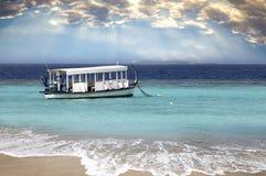 Maldives. A national boat at ocean. stock image