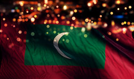 Maldives National Flag Light Night Bokeh Abstract Background Stock Images