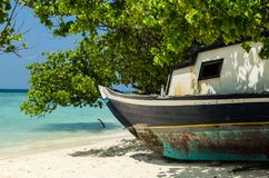 Old wooden colorful boat on the white sand of the tropical island. Maldives. Maldives - November, 2017: Amazing beach on Maldives with old picturesque  wooden Royalty Free Stock Photography