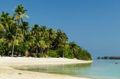 Maldives - November, 2017: Blue Lagoon, Indian Ocean. Holidays destination. Maldives - November, 2017: Amazing beach on Maldives with white sand, turquoise water Royalty Free Stock Photo