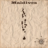 Maldives old map with grunge and crumpled paper. Vector illustration vector illustration