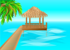 Maldives. Over water bungalows with steps into lagoon Stock Photo