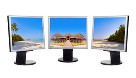 Maldives panorama in computer monitors Royalty Free Stock Photos