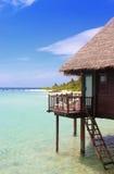 Maldives paradise water bungalow Stock Images