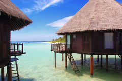 Maldives paradise water bungalows Royalty Free Stock Photo