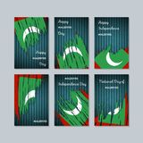 Maldives Patriotic Cards for National Day. Expressive Brush Stroke in National Flag Colors on dark striped background. Maldives Patriotic Vector Greeting Card Stock Photo