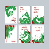 Maldives Patriotic Cards for National Day. Expressive Brush Stroke in National Flag Colors on white card background. Maldives Patriotic Vector Greeting Card Royalty Free Stock Image
