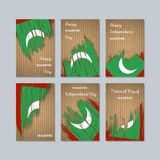 Maldives Patriotic Cards for National Day. Expressive Brush Stroke in National Flag Colors on kraft paper background. Maldives Patriotic Vector Greeting Card Stock Image