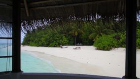 Maldives, a rainy day in the paradise, view to the island stock video