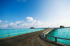 Maldives resort bridge. Royalty Free Stock Photo