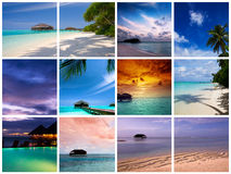 Maldives resort collage royalty free stock photos