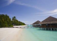 Maldives resort Medhufushi. Medhufushi Island Resort is naturally quiet, serene, authentic Maldivian island with SPA salon stock photos