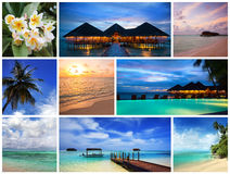 Maldives resort Medhufushi. Blue ocean and maldives island collage stock photo