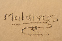 Maldives in the Sand Royalty Free Stock Photography