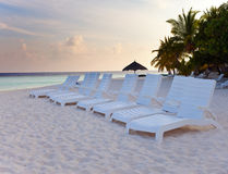 Maldives. A sandy beach and an ocean coast. Royalty Free Stock Images
