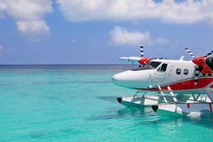 Maldives sea plane in Indian ocean Stock Images