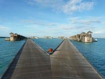 Maldives sea. Water villas at hotel in Maldives Royalty Free Stock Image