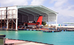Maldives. A seaplane in a repair dock in port Royalty Free Stock Photography