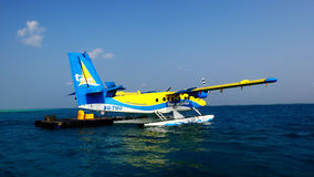 The maldives seaplanes. From the maldives capital Male tired to vilureef seaplanes Royalty Free Stock Photo