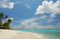 Maldives, seascape. Clear beach, sky and turquoise ocean. Maldives Royalty Free Stock Photography