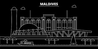 Maldives silhouette skyline, vector city, maldivian linear architecture, buildings. Maldives travel illustration. Maldives silhouette, skyline, vector city Royalty Free Stock Images