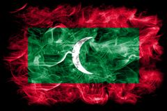 Maldives smoke flag on a black background.  Stock Images