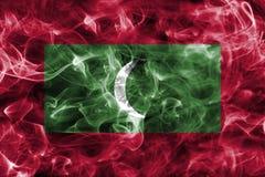 Maldives smoke flag. Isolated on a black background Royalty Free Stock Photos