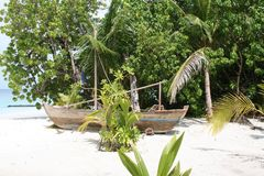 Maldives stara łódź Zdjęcie Royalty Free