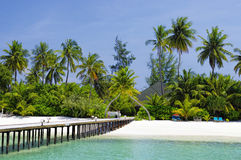 Maldives - sunny jetty Stock Image