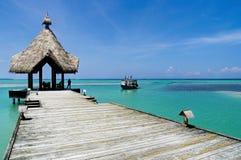 Maldives - sunny jetty Stock Photos