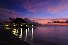 Maldives sunset. Near bar by sea Royalty Free Stock Photos