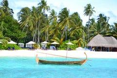 Maldives traditional dhoni. Dhoni in the lagoon at W Retreat and Spa in the Maldives Stock Photo