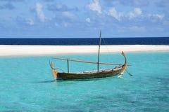 Maldives traditional dhoni. Dhoni in the lagoon at W Retreat and Spa in the Maldives Stock Image