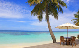 Maldives, tropical beach deck at ocean Royalty Free Stock Photography