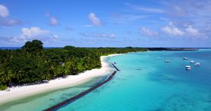 V08811 maldives tropical island and blue sea with drone aerial flying view on a beach with white sand and beautiful sky. Maldives tropical island and blue sea stock video footage