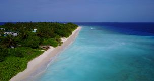 V08774 maldives tropical island and blue sea with drone aerial flying view on a beach with white sand and beautiful sky. Maldives tropical island and blue sea stock footage