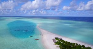 V08846 maldives tropical island and blue sea with drone aerial flying view on a beach with white sand and beautiful sky. Maldives tropical island and blue sea stock footage