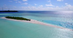 V08884 maldives tropical island and blue sea with drone aerial flying view on a beach with white sand and beautiful sky stock video