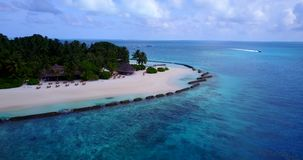 V08790 maldives tropical island and blue sea with drone aerial flying view on a beach with white sand and beautiful sky stock footage