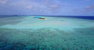 V08736 maldives tropical island and blue sea with drone aerial flying view on a beach with white sand and beautiful sky. Maldives tropical island and blue sea stock video footage